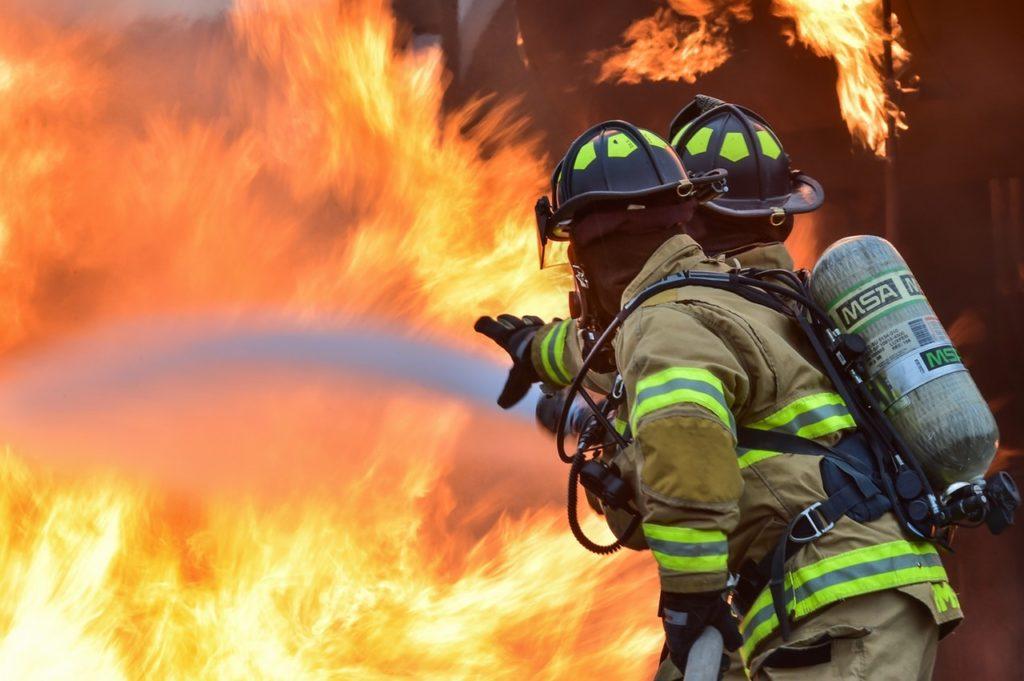 Firefighters Fighting Blaze